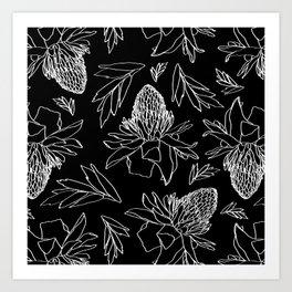 Tropical Ginger Plants in Black + White Art Print