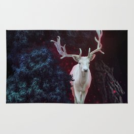 Magic white deer on moon phase dream Rug