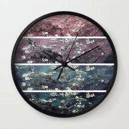 Vincent Van Gogh : Almond Blossoms Panel aRt Dark Pink Eggplant Teal Wall Clock