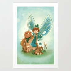 Goblins Drool, Fairies Rule! - Baby Blue Art Print