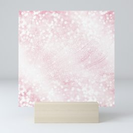 Elegant Scintillant Pink Glitter bokeh Sparkles Photo Mini Art Print