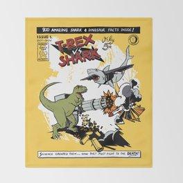T-Rex VS Shark  Throw Blanket