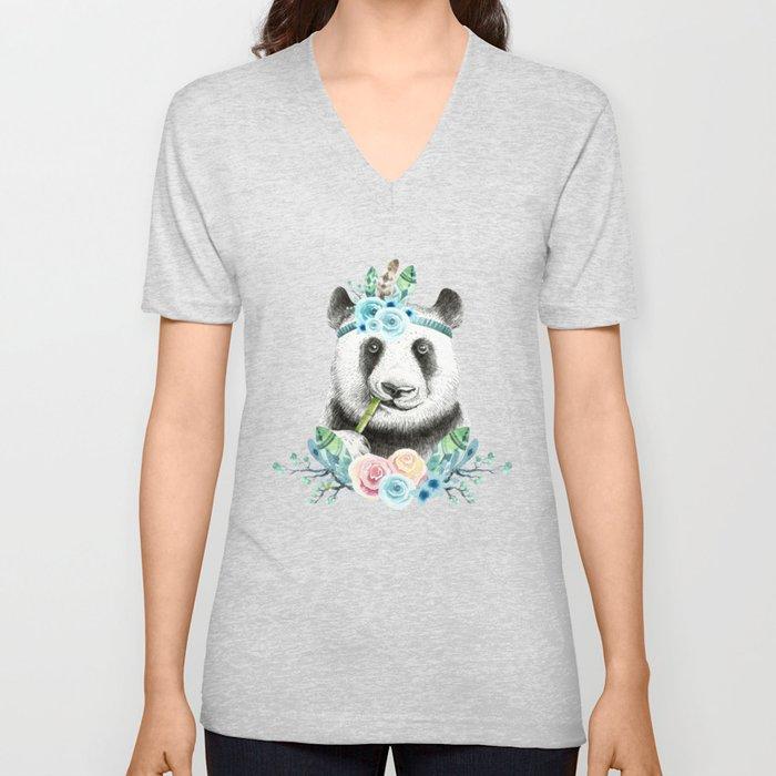 Watercolor Floral Spray Boho Panda Unisex V-Neck