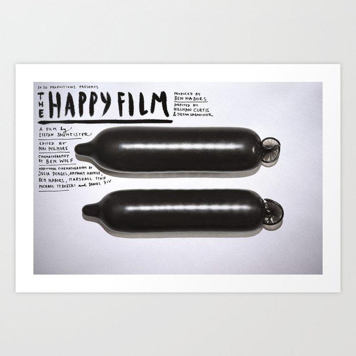 Happy Film - Black Condoms Art Print