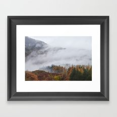 Rain clouds sweeping through the mountains near Blea Tarn. Cumbria, UK. Framed Art Print