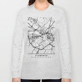 FLORENCE ITALY BLACK CITY STREET MAP ART Long Sleeve T-shirt