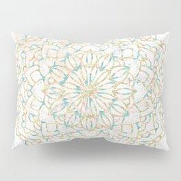 Marble Mandala Sea Shimmer Gold + Turquoise Pillow Sham