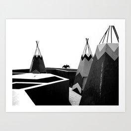 Cabins in BW Art Print