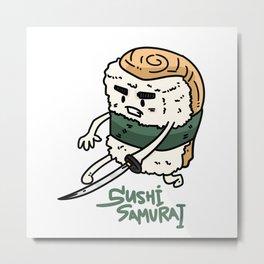 Sushi Samurai Fighter Sword Metal Print