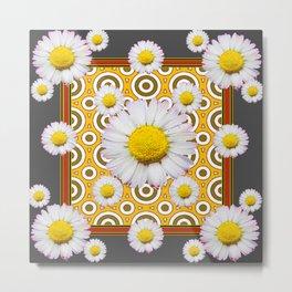 Charcoal Grey White Shasta  Daisy Patterns Brown Art Metal Print