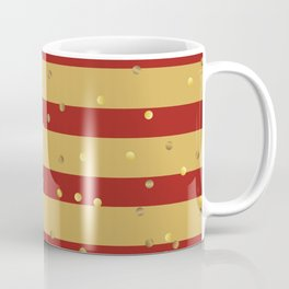 Christmas Golden confetti on Gold and Red Stripes Coffee Mug