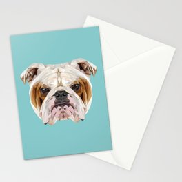 English Bulldog // Blue  Stationery Cards