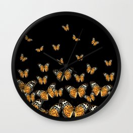 DECORATIVE BLACK COLOR ART & FLYING BUTTERFLIES Wall Clock
