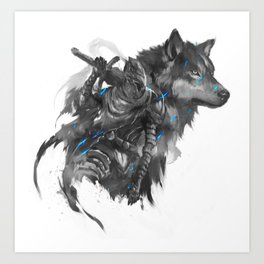 Artorias and Sif Art Print