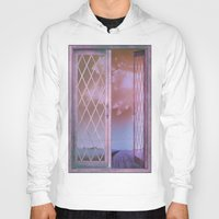 shabby chic Hoodies featuring Lavender Fields in Window Shabby Chic original art by Glimmersmith