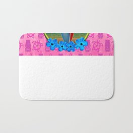 Pink Tikis Sunset And Surfboards Bath Mat