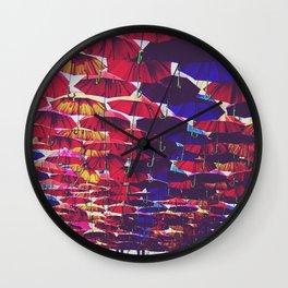 Rainbow Umbrellas Wall Clock