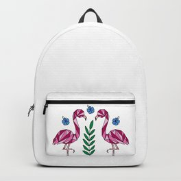 Geometric Flamingos and Hibiscus Flowers Backpack
