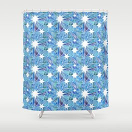 Geometric Crystalline Star Pattern in Blues Shower Curtain