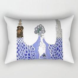 """Art Deco Design """"Pacific Ocean"""" by Erté Rectangular Pillow"""