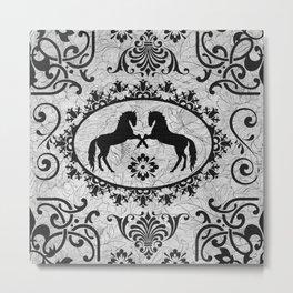 Damask Black and Grey horse art Metal Print