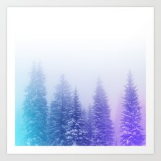 Blue and Purple Pines Art Print