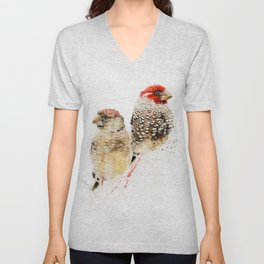 Red Headed Finches Unisex V-Neck
