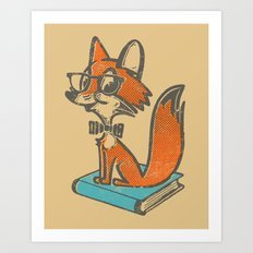 Fox Librarian - A Well Read Fox Art Print