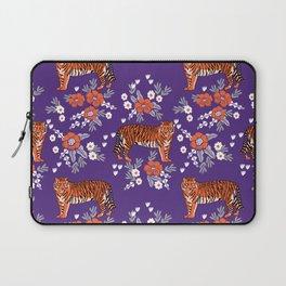 Tiger Clemson purple and orange florals university fan variety college football Laptop Sleeve