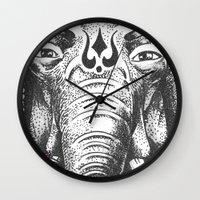 ganesha Wall Clocks featuring Ganesha by Morgan Soto