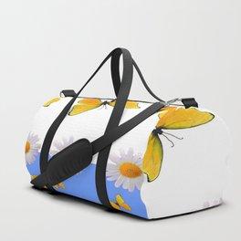 BLUE MODERN ART YELLOW BUTTERFLIES & WHITE DAISIES Duffle Bag