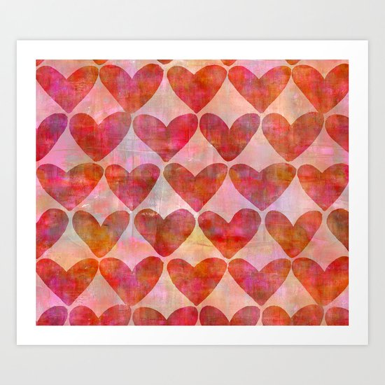 red Hearts mixed media pattern Art Print