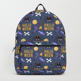 Happy haloween pattern with test, spiders, brooms, bones and sweets Backpack