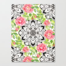 Peach Pink Roses and Mandalas on Lime Green and White Canvas Print