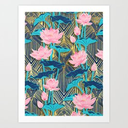 Art Deco Lotus Flowers in Pink & Navy Art Print
