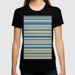 Stripey Design Gold Cream Brown Blues T-shirt