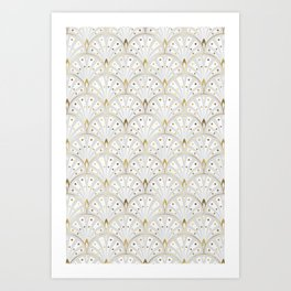 marble and gold art deco scales pattern Art Print
