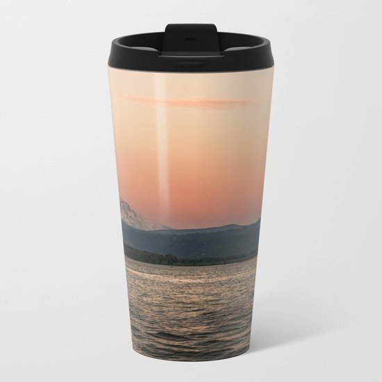 Mt. Hood Moonrise at Sunset Metal Travel Mug