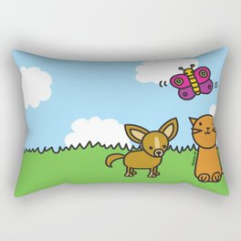 Butterfly, Cat and Dog Rectangular Pillow