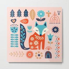 Soft And Sweet Scandinavian Fox Folk Art Metal Print