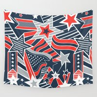 patriotic Wall Tapestries featuring Patriotic Pattern by Aron Gelineau