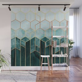 Teal Hexagons Wall Mural