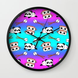 Cute funny Kawaii chibi little playful baby panda bears, happy cheerful sushi with shrimp on top, rice balls and chopsticks bright rainbow pattern design. Nursery decor. Wall Clock