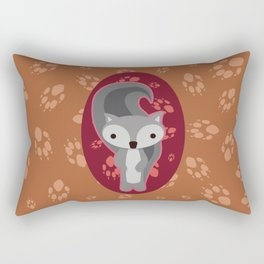 Squirrel with Paw Prints Rectangular Pillow