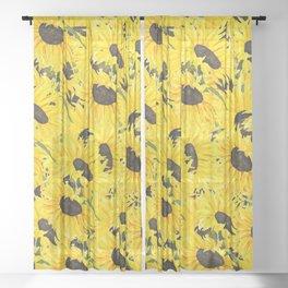 sunflower pattern 2018 1 Sheer Curtain