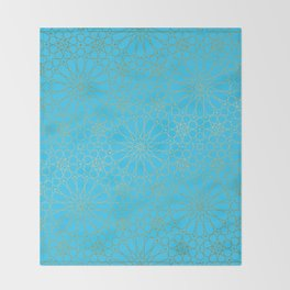 Moroccan Nights - Gold Teal Mandala Pattern - Mix & Match with Simplicity of Life Throw Blanket