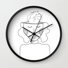 Think with the heart b&w Wall Clock