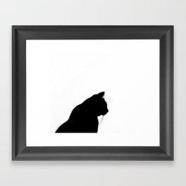Black cat silhouette Framed Art Print