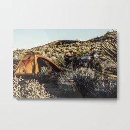 Moto camping in the desert Metal Print