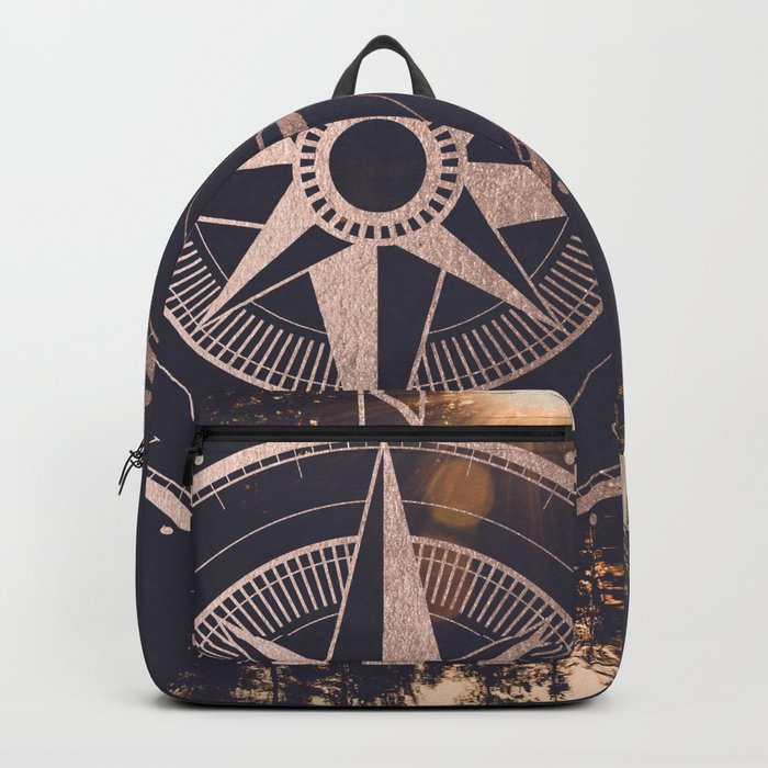 Rose Gold Compass Forest Backpack